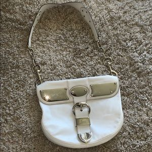 GUCCI WHITE LEATHER HANDBAG WITH METAL PLATES